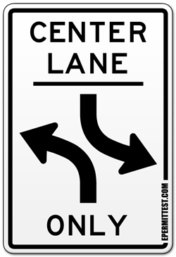 Center Lane Left Turns Only Road Sign