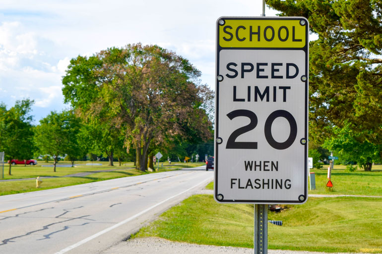 Speed limit is usually significantly lower in school zones