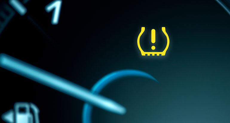 Tire pressure warning dashboard light