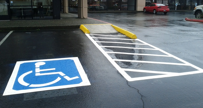 Disabled parking space with road markings