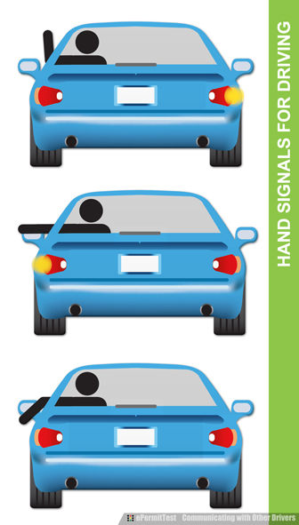 Use hand signals to communicate with other drivers when your turn indicators are not functioning