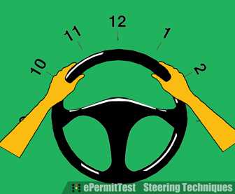 Hands on the steering wheel - Positions 10-2