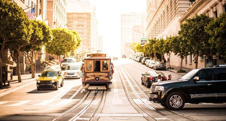 Tram going through an intersection