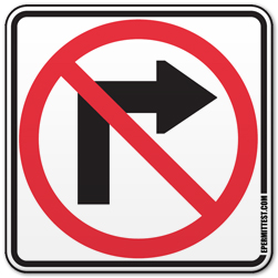 No Right Turn Regulatory Road Signs