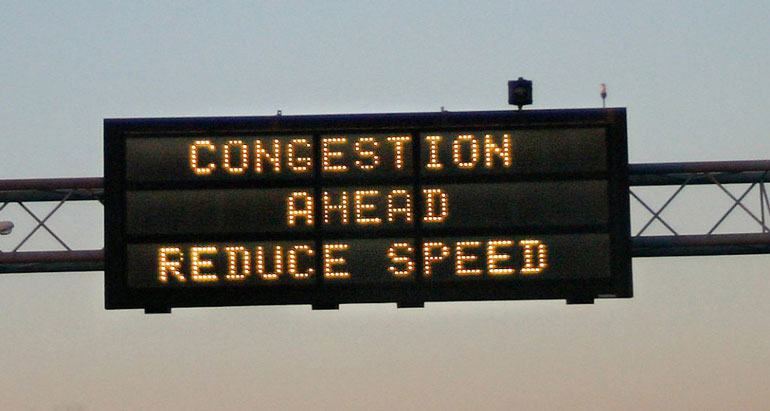 Congestion Ahead Road Sign Warning