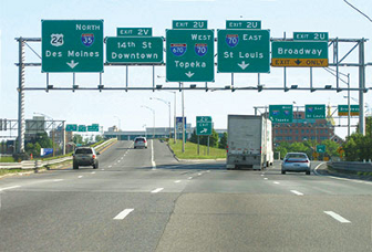 Guide Signs At A Highway Interchange