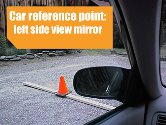 Left side-view mirror as a reference point for a stop line