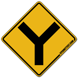 Y Intersection | Warning Road Signs Y Intersection