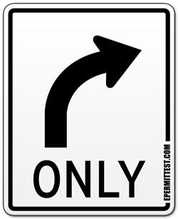 Turn Right Only Lane Use Control Sign