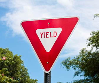 An intersection controlled by a yield sign