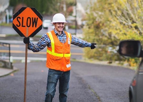 Flagger Directing Traffic